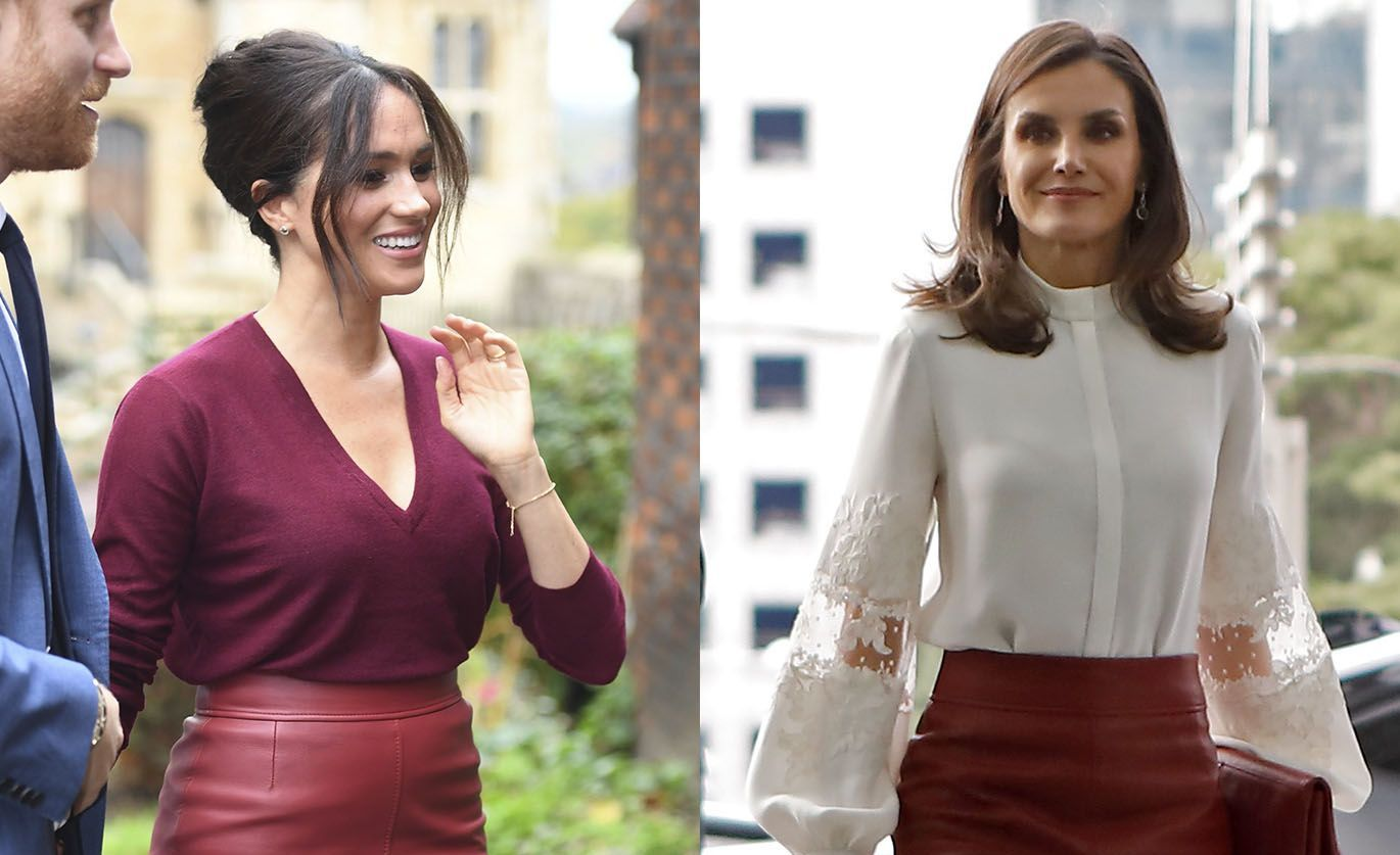 The Duchess of Sussex twins with Queen Letizia of Spain in red leather