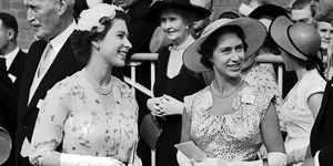 Queen Elizabeth II and Princess Margaret greet trainer Noel Murless