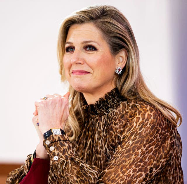 queen maxima of the netherlands visits studio qredits in the hague