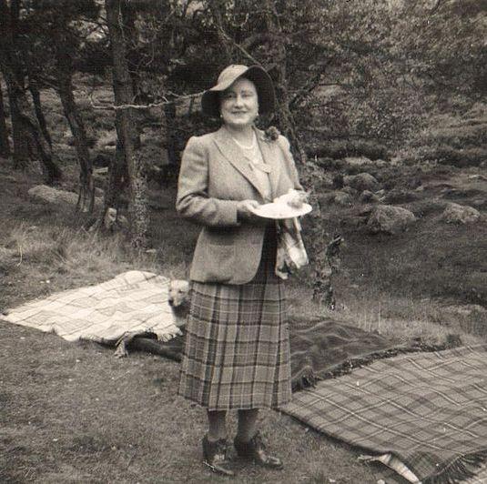 The Queen Mother enjoying a family picnic at the Balmoral estate.
