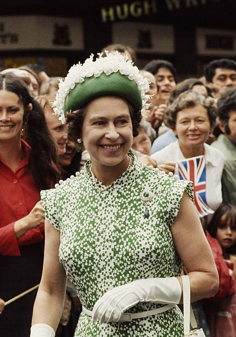 The Queen greets crowds in New Zealand in 1977