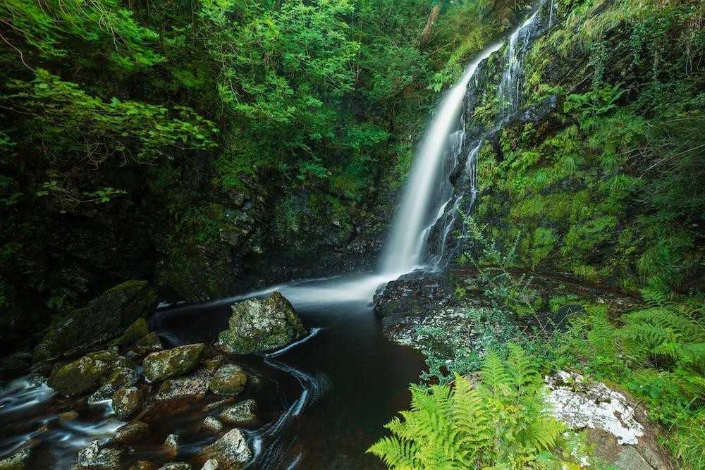 Queens Way Waterfall, Galloway Forest Park, Scotland, UK