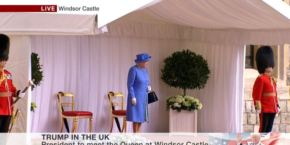 The Queen did not look amused to be left waiting for Trump