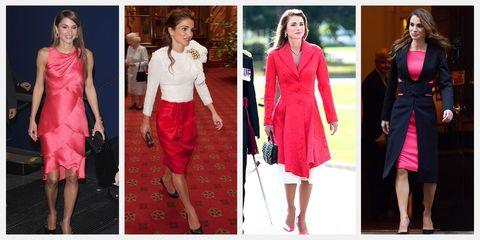 Clothing, Fashion model, Pink, Red, Dress, Fashion, Magenta, Formal wear, Outerwear, Neck,