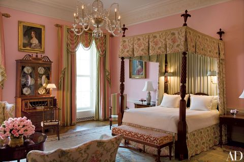 the queens' bedroom as it appeared during the george w bush years, where various queens throughout history have stayed the drapery, bed hanging, and armchair are by scalamandré
