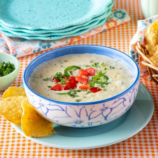 queso dip recipe with basket of tortilla chips