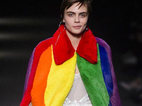 Fashion, Clothing, Fashion model, Yellow, Orange, Scarf, Stole, Fashion show, Electric blue, Runway,