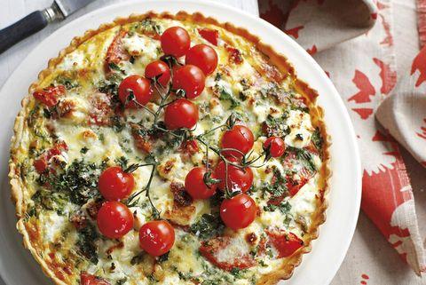 Quiche de tomates, champiñones y queso