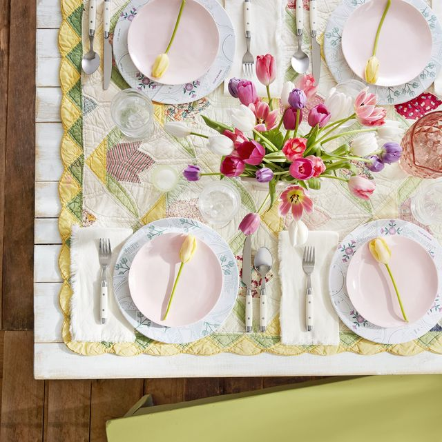 quilt tablecloth rustic easter decoration