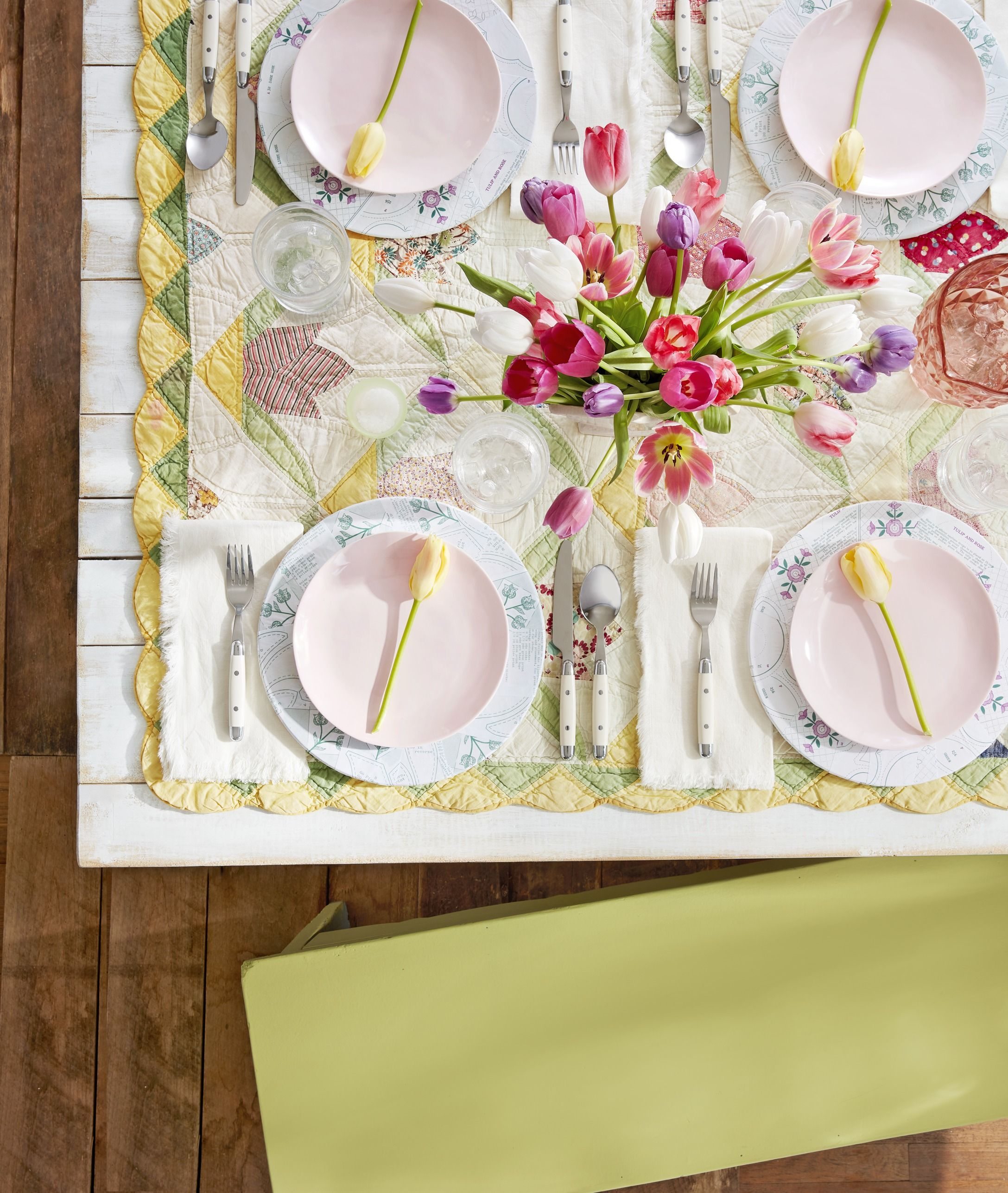 quilt tablecloth easter table decoration
