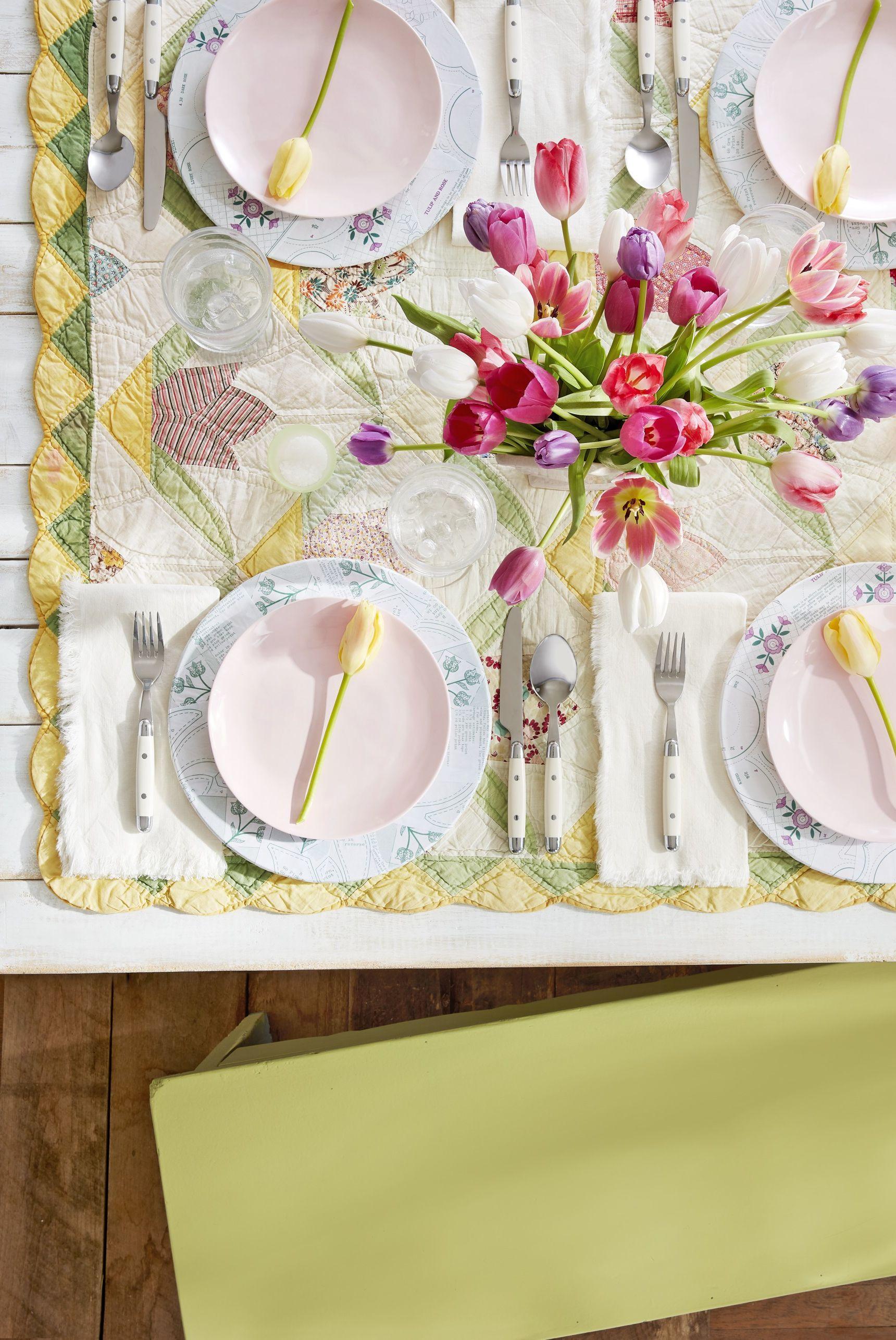 quilt tablecloth rustic bridal shower idea