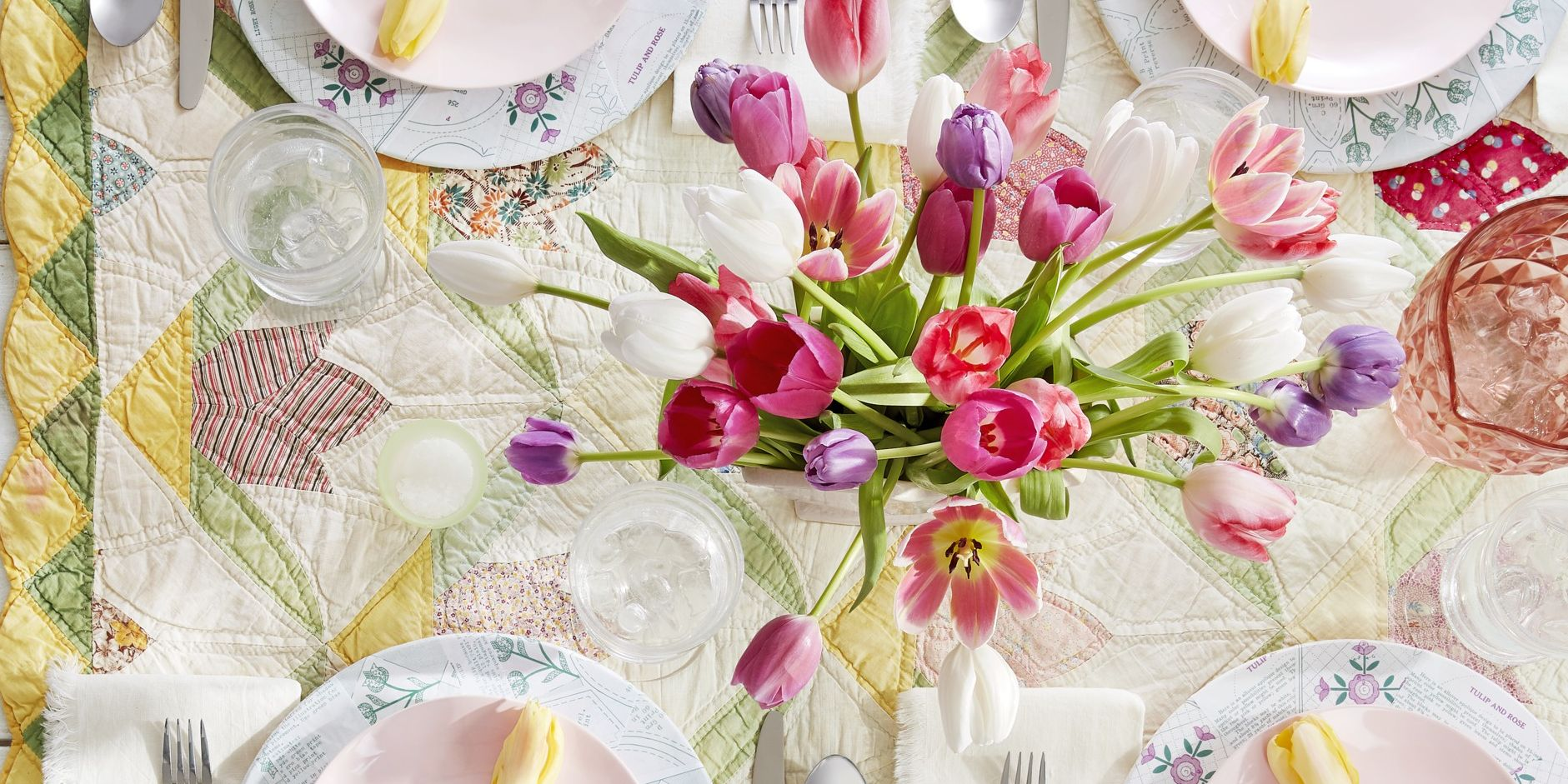 quilt tablecloth spring centerpiece