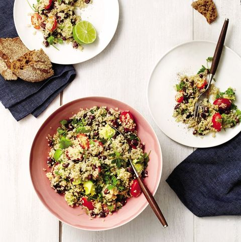quinoa, black bean, and avocado salad