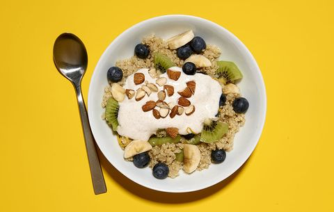 quinoa fruit breakfast bowl with lemon cinnamon yogurt