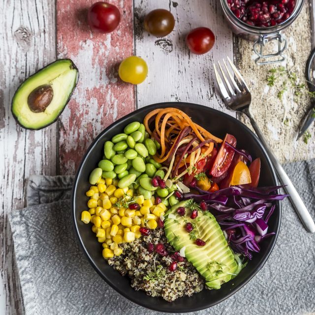 quinoa veggie bowl of avocado, edamame, tomatoes, corn, carrots, red cabbage and pomegranate seed