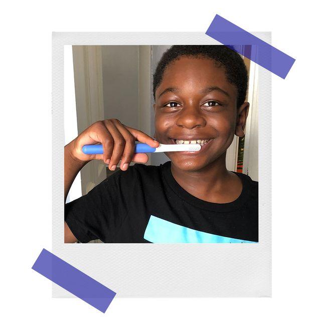 miles using kids quip toothbrush
