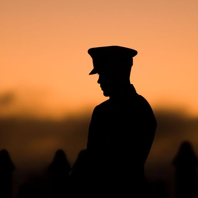 silhouette of soldier during the still at the state war memorial