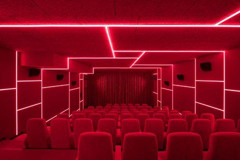 Red, Auditorium, Lighting, Theatre, Building, Ceiling, Interior design, Room, Movie theater, Stage is empty,