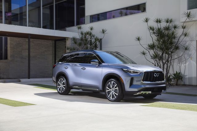 the all new 2022 infiniti qx60, combining powerful athleticism with harmony and simplicity autograph grade shown in moonbow blue not yet available for purchase expected availability, late 2021 pre production model shown actual production model may vary
