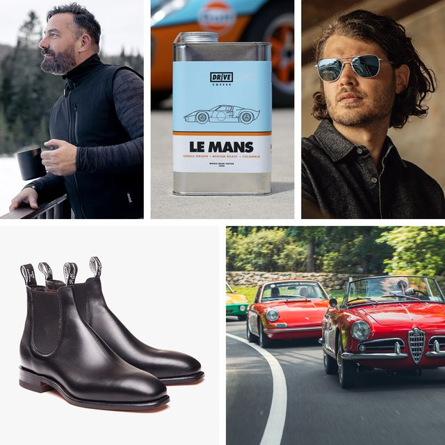 man wearing ewool heated vest, carton of drive coffee, man wearing randolph usa sunglasses, pair of rmwilliams leather boots, and an image of cars at a road  track event