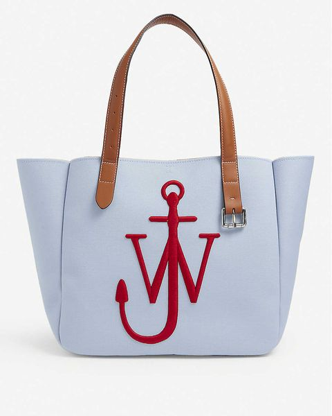 jw anderson 水藍色刺繡托特包