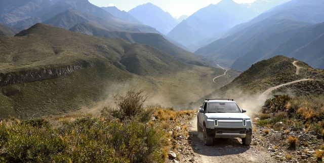 rivian r1t on a road trip in south america