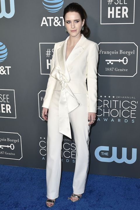 Rachel Brosnahan wearing a white suit at the Critics' Choice Awards