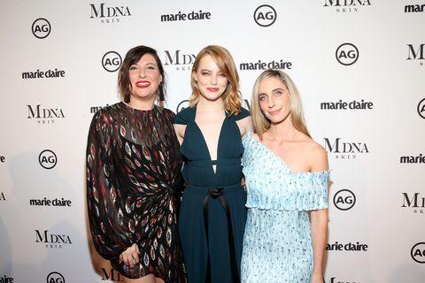 Rachel Goodwin, Emma Stone, and Mara Roszak at the 2018 Image Makers Awards