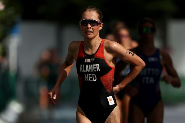 tokyo, japan   july 27  rachel klamer of team netherlands competes during the womens individual triathlon on day four of the tokyo 2020 olympic games at odaiba marine park on july 27, 2021 in tokyo, japan photo by buda mendesgetty images
