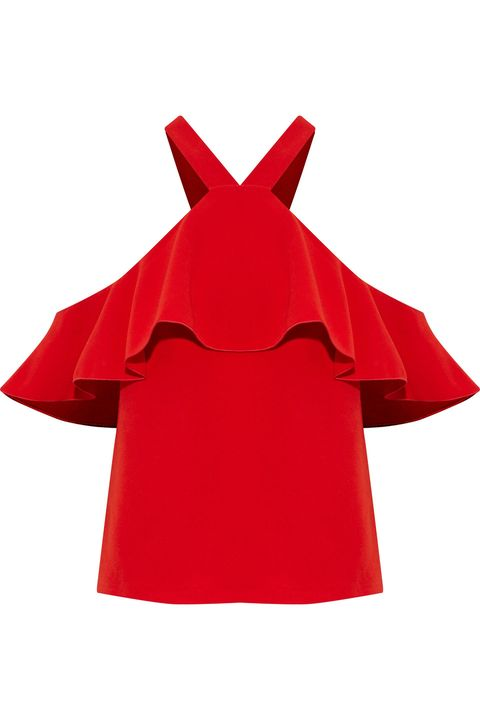 Red, Clothing, Sleeve, Outerwear, Dress, Crop top, Carmine, Costume,
