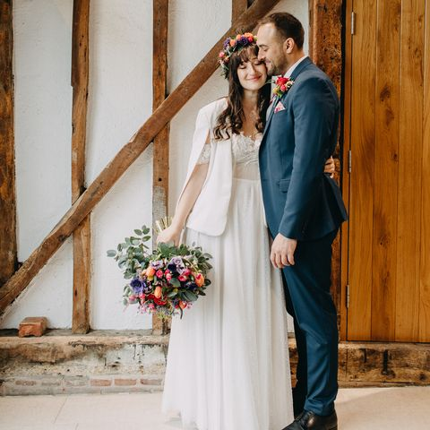 Photograph, Bride, Wedding dress, Dress, Wedding, Gown, Ceremony, Yellow, Bridal clothing, Formal wear,