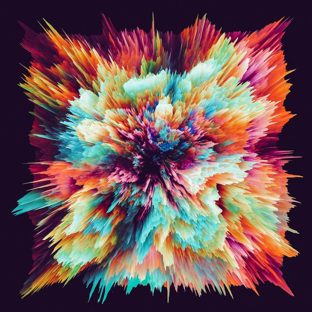 radial colored powder explosion speed motion abstract on black background