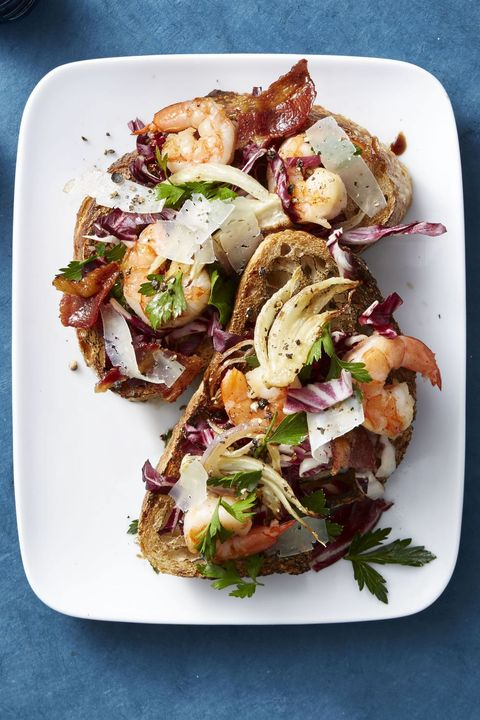 healthy salads   radicchio salad with roasted fennel and shrimp