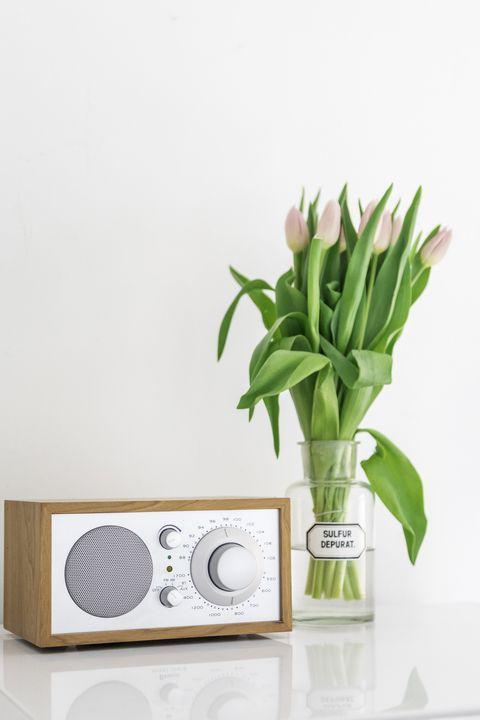 radio and glass vase