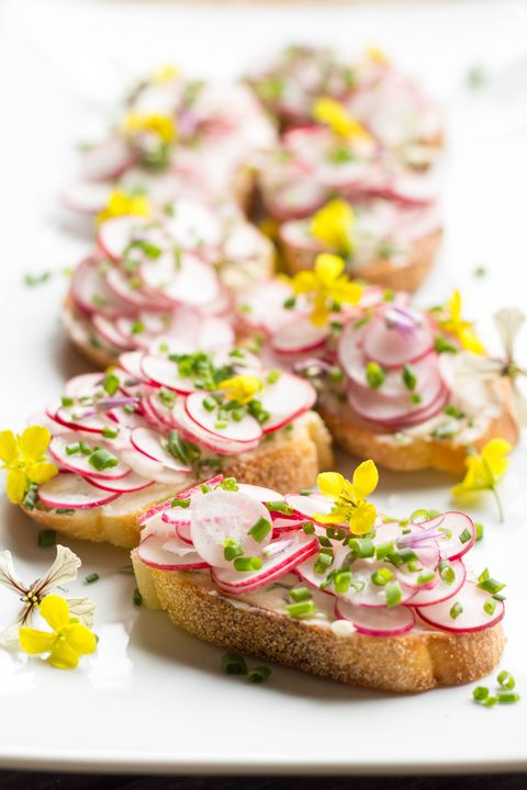 radish toasts chive butter