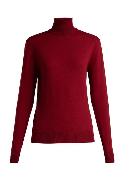 Clothing, Sleeve, Red, Neck, Outerwear, Long-sleeved t-shirt, Maroon, Shoulder, Sweater, Collar,