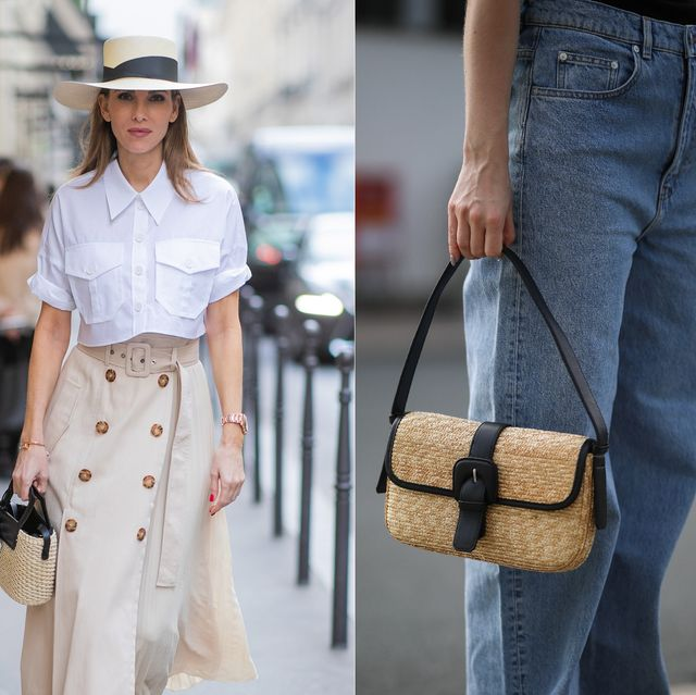 paris, france   february 26 alexandra lapp is seen wearing a beige pleated skirt by riani, white short blouse from riani, straw hat and straw bag from sensi studio, micro bottega veneta bag in black and white, aquazzura deneuve pumps with polka dots during paris fashion week   womenswear fallwinter 20202021  day three on february 26, 2020 in paris, france photo by christian vieriggetty images