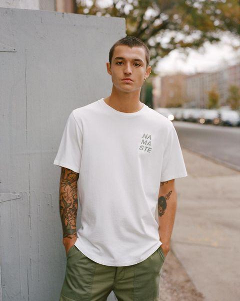 T-shirt, White, Clothing, Sleeve, Neck, Street fashion, Cool, Shoulder, Pocket, Fashion,