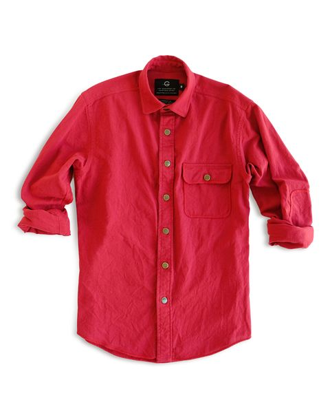 Clothing, Sleeve, Red, Outerwear, Button, Collar, Jacket, Shirt, Top,