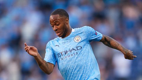 raheem sterling plays football for manchester city in the uefa champions league