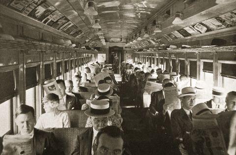 rail commuters new york usa circa 1920s circa 1930s