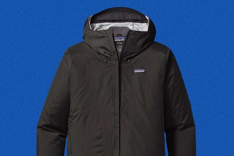 a black rain jacket with a hood