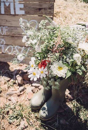 rain boot flower vase country wedding ideas