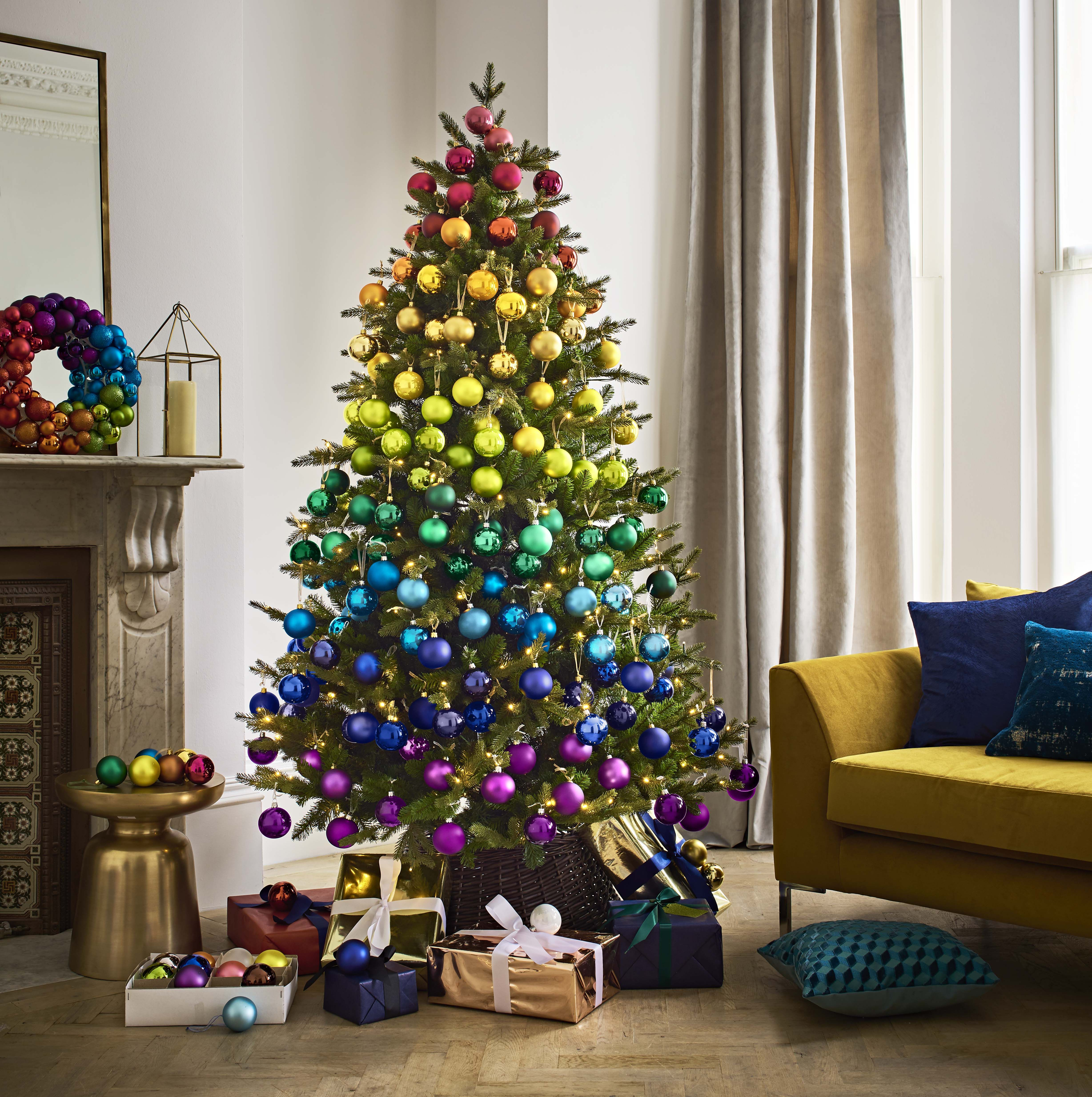 Rainbow Christmas Tree with coloured baubles and wreath- John Lewis - Christmas 2018