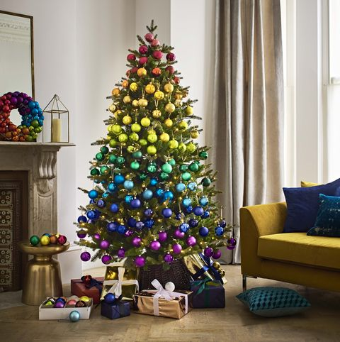 Rainbow Christmas Tree with coloured baubles and wreath - John Lewis - Christmas 2018