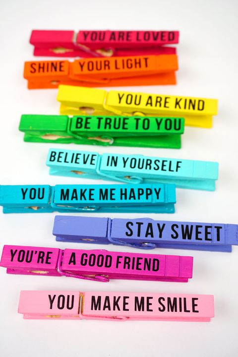 back to school activity colored clothespins with inspirational messages