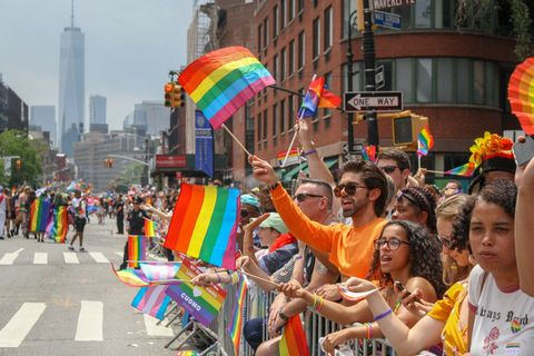 rainbow flags at nyc gay pride parade