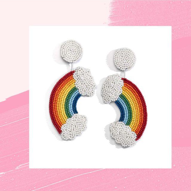rainbow earrings and rainbow mug
