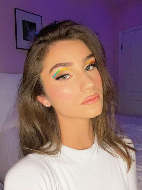 rainbow graphic eyeliner makeup look madison werner