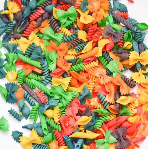 rainbow pasta noodles sensory bin